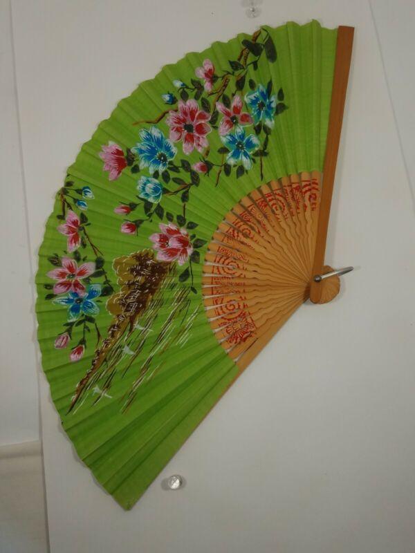 Japan VTG Folding Green Sensu Fan - Hand Painted Paper: Village & Tree Blossoms