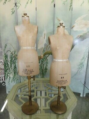 2 Vintage Bauman Miniature Half Scale Dress Forms Great Table Fare