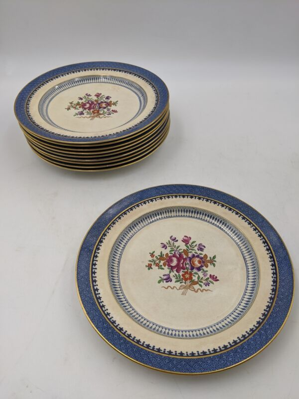 10 Vintage TIFFANY & CO Booths Dinner Plates Silicon China Lowestoft Border Blue