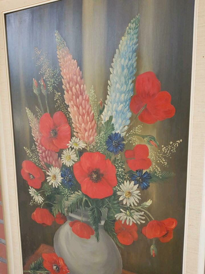 RETRO Ölgemälde 1968 Blumen VINTAGE Bild KUNST DEKO Alt in Groß-Gerau