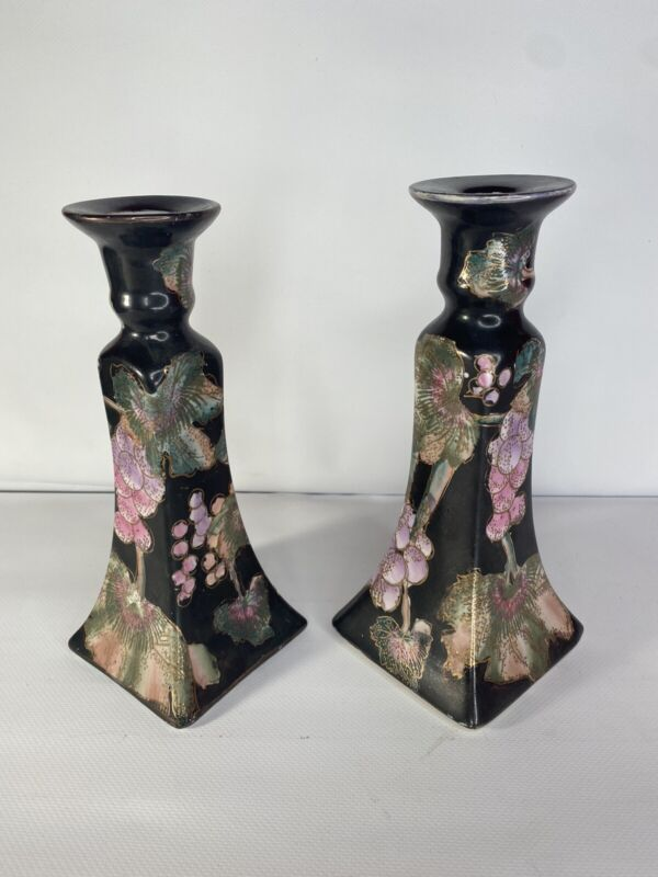 Pair Vintage Asian Chinese Japanese Porcelain Candlesticks Black Floral Print