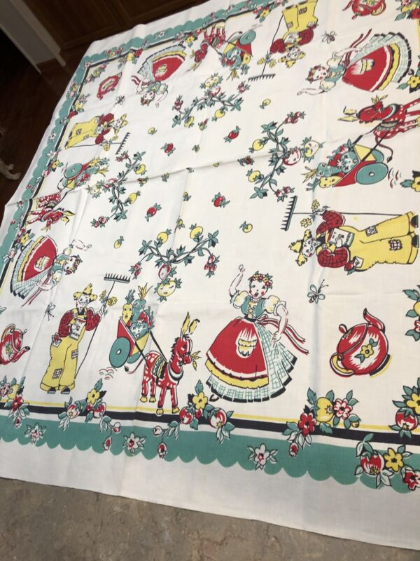 Vintage Tablecloth Broderie Farmer Woman Donkey Cart Teapots Flowers Whimsical