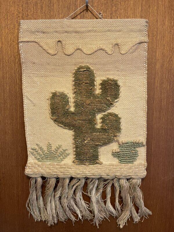 Vintage ICA 1988 Cactus HandMade Fiber Wall Hanging Southwest DesertDecor 16x28
