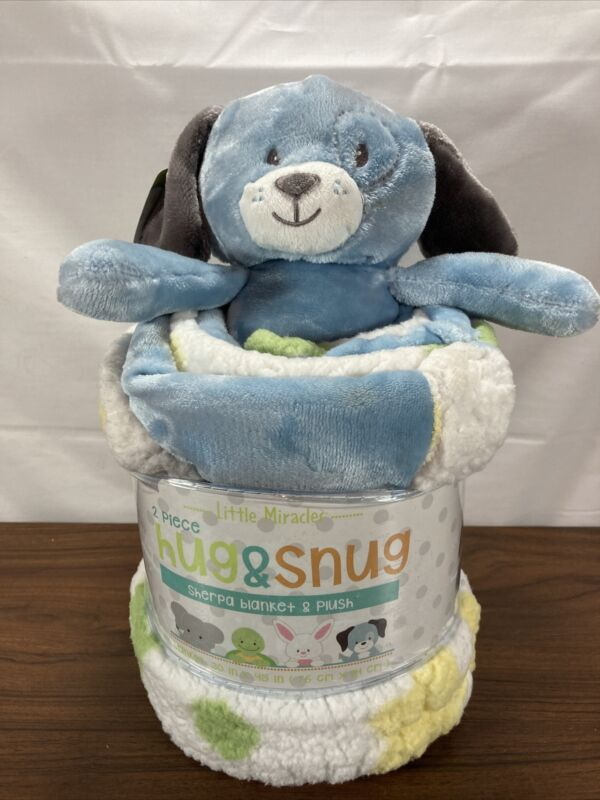 Little Miracles 2 Piece Hug & Snug Sherpa Puppy Dog & Blanket Set New with Tag