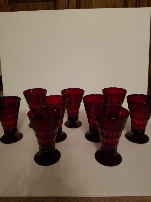 (9) Footed Ice Tea Goblet Glass/ Cambridge ruby red heirloom martha washington