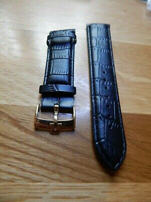 Mens 20 mm leather watch Strap Band Black  with gold plated omega style buckle Leather Watch Strap Plated Buckle