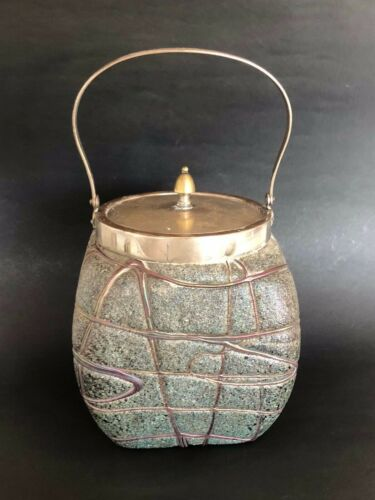 Loetz Iridescent Glass Biscuit Jar Box Antique