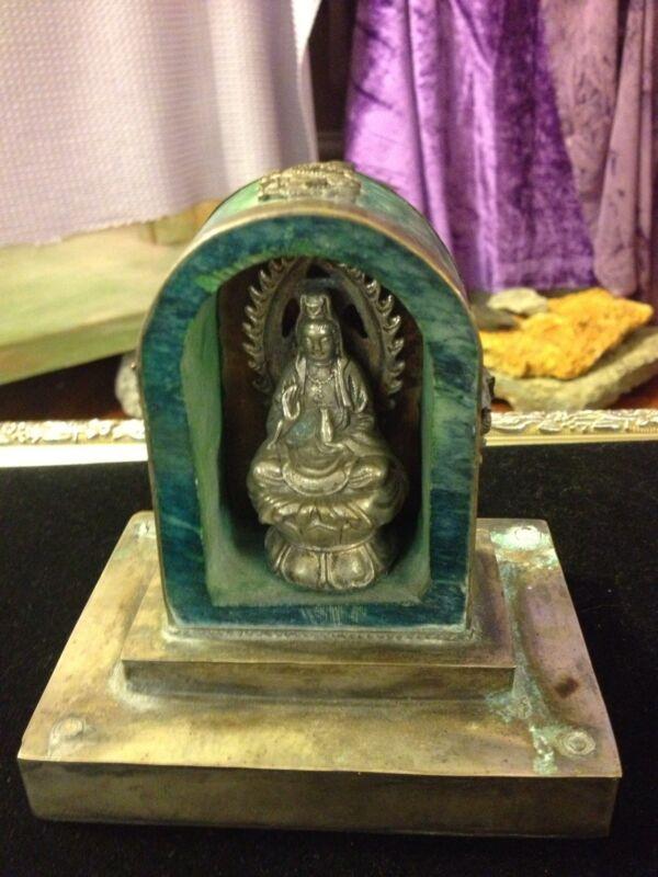 Antique/Vintage Carved Jade & Sterling Silver Kuan Yin/Quan Yin Altar-Signed!
