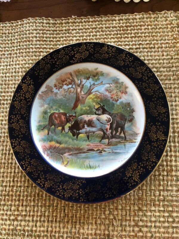 Antique Empire Stoke On Trent Cattle Plate Blue Transferware Painted