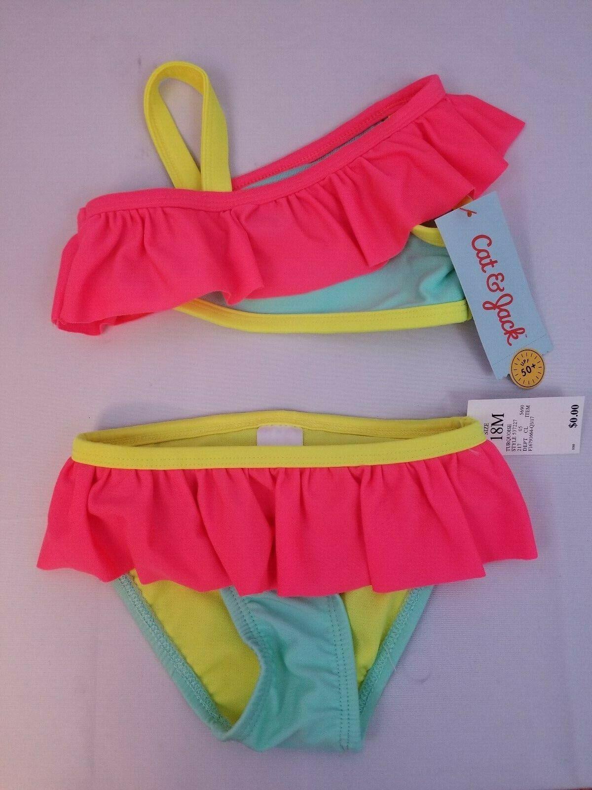 Cat & Jack Baby Girls' Ruffle Bikini Set, 18M, Turquoise - M