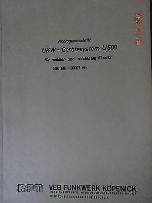 UKW- Gerätesystem U600 Montagevorschrift,105 Seiten ,RFT / Funkwerk Köpenick