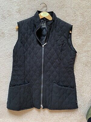 Barbour Womens Quilted Microfiber Gilet Vest Black Sz US 10 Free Shipping
