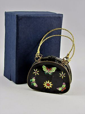 Kelvin Chen 2001 Enamel Purse Box Butterflies  Handle. Limited  Edition Signed