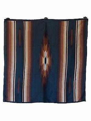 Aztec Teal/Tan Western Cowboy Silk Wild Rag Bandana Buckaroo Scarf