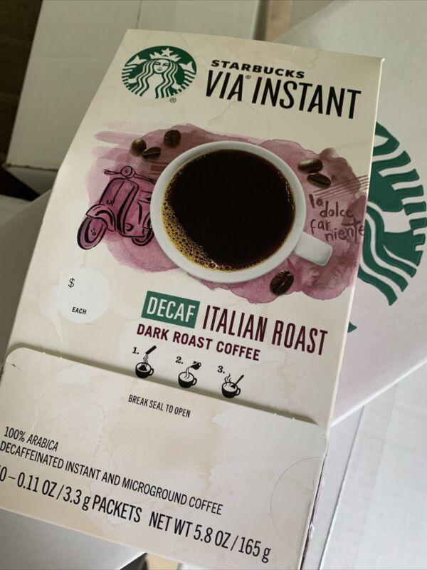 Starbucks VIA Instant Decaf Italian Roast Coffee - 50 Count - BBD 10/22/20