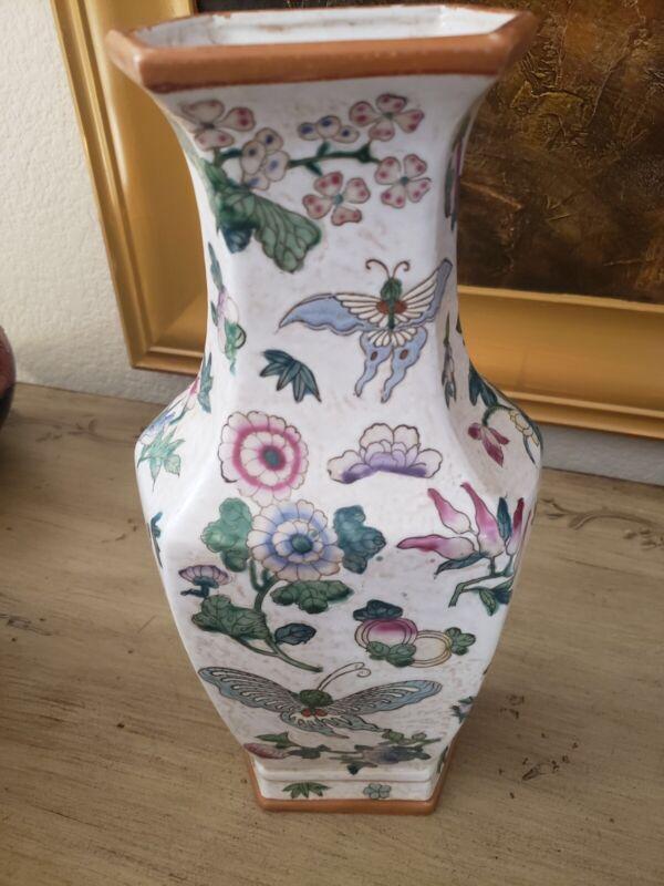 Antique Chinese Qianlong Vase  Famille Rose Butterflies