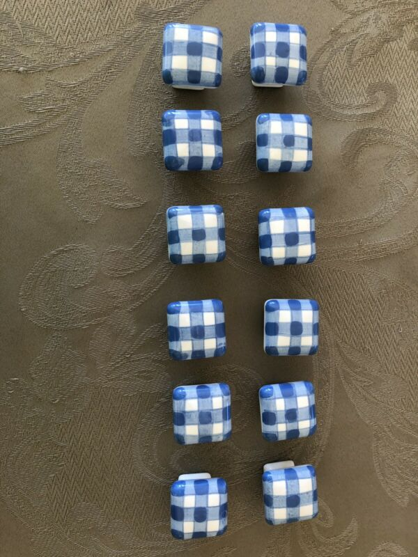 12 Beautiful Hand Painted Blue And White Ceramic Drawer Pulls