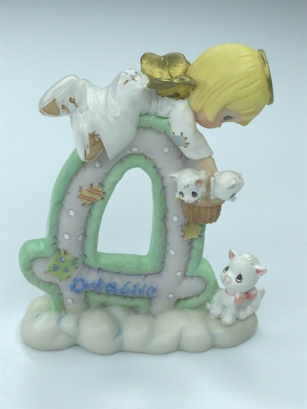 """Precious Moments Letter """"A""""  Angel Angelic Kittens Figurine Enesco"""
