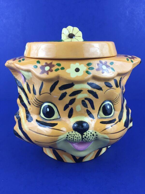 Vintage 1971 Orange Tiger Cat Head Ceramic Cookie Jar