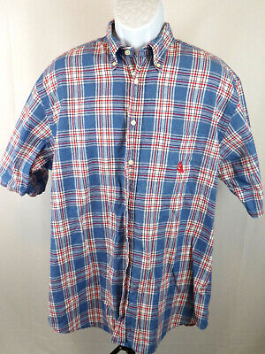 Nautica Mens Large Blue Check Short Sleeve Button Down Casual Shirt A37