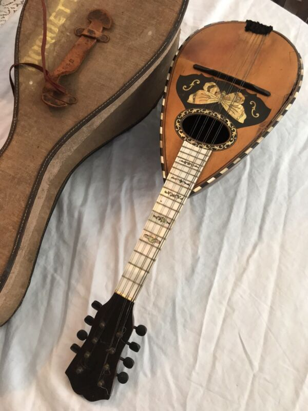 Old Vintage German Butterfly MOP 8 String Bowlback Mandolin & Case From WWII