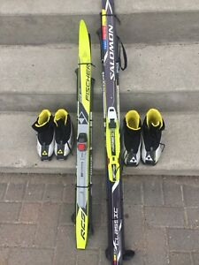 REDUCED 2 set of Kids cross country skis and boots for sale.