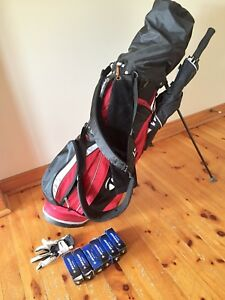 Golf bag, shoes, clubs, driver, putter, glove, T's, balls,