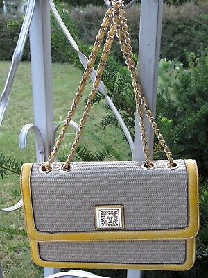 Anne Klein Woven Yellow Trimmed Gold Chain Adjustable Strap Shoulder Bag Purse