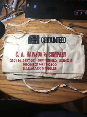 Vintage Certainteed Hallmark Shingles Waist 1/2 Nail 2 Pocket Apron See Photos