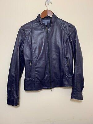 VERA PELLE Real Leather Soft Purple Biker Jacket  Old School 90s UK 8 Blogger