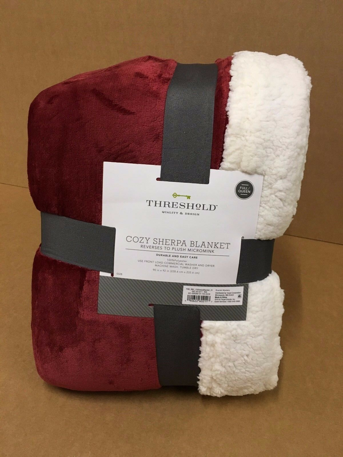 Threshold 90 in. x 92 in. Cozy Sherpa Blanket - Scarlet Myst