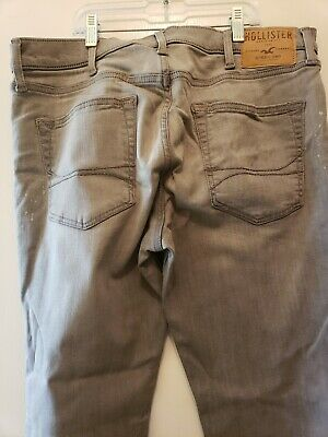 Men Hollister Gray Pants Size 36/32 Super Skinny Jeans worn once