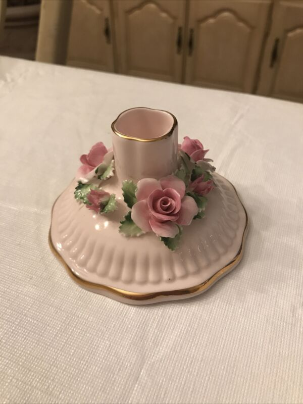Vintage Adderley Pink Bone China Floral Bouquet Candle Holder- Gold Trim