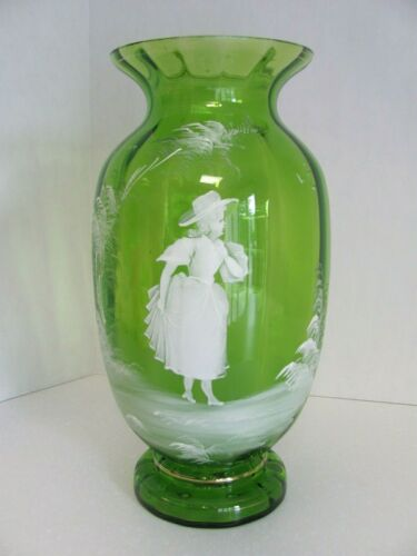 "Antique Mary Gregory Vase Bulbous Footed Green w Gilt Maiden in Hat 12"" H"