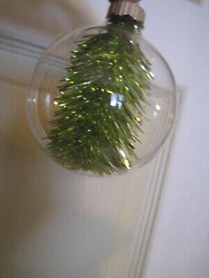 MARTHA STEWART(MSE) 7 Clear Christmas Ornament Balls W/Tinsel Inside