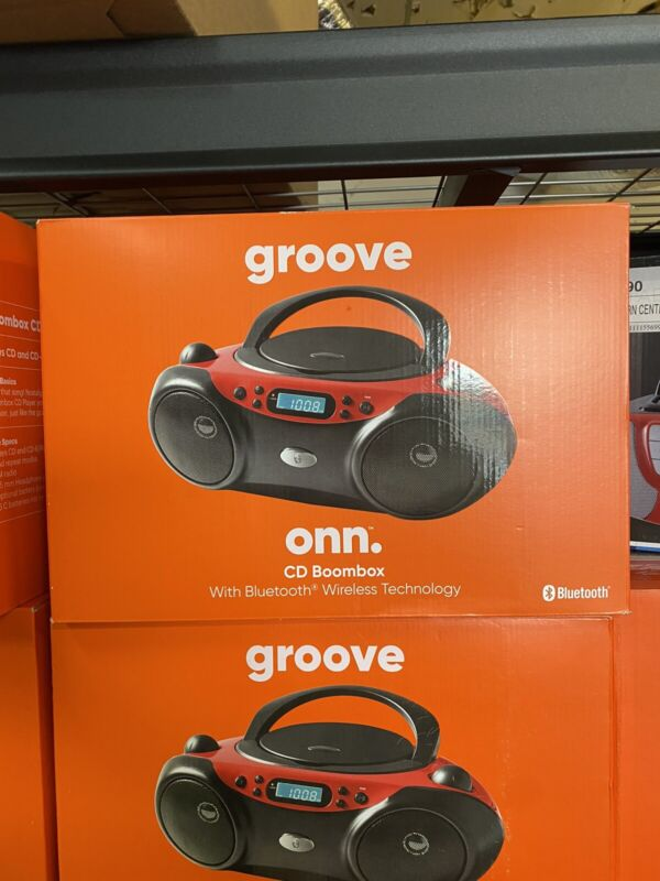 Onn Groove BOOMBOX CD PLAYER & FM RADIO with Bluetooth Wireless Technology