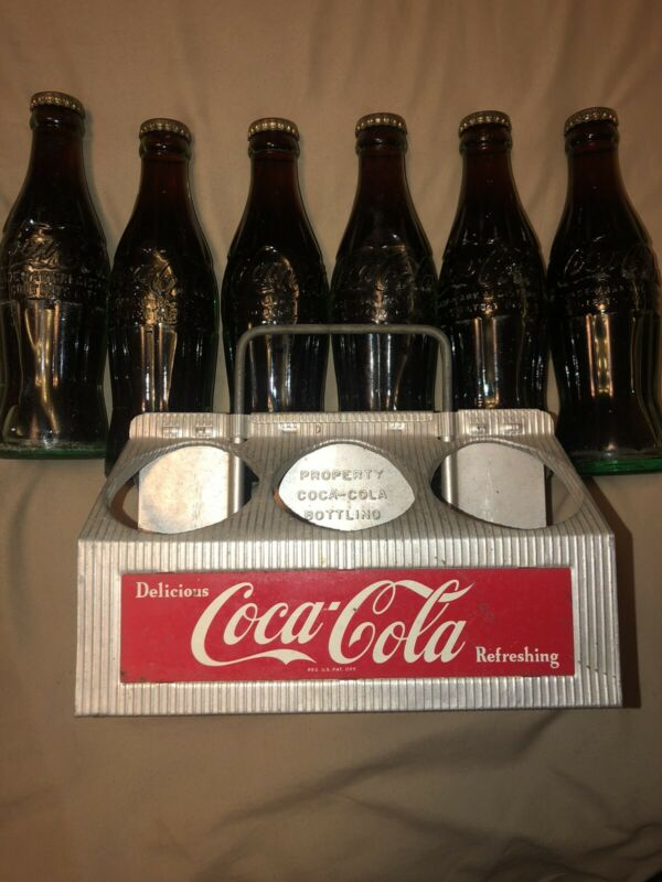 Vintage COCA-COLA Metal 6-Pack Bottle Carrier With Bottles