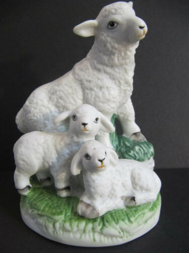 Sheep & Baby Lambs vintage hand painted ceramic Figurine