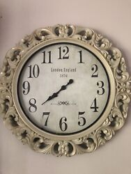 large 26 diameter wall clock antique white wash faux wood wall decor