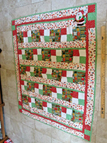 HAND MADE QUILT BLANKET Christmas Trees Santa Snowman Cotton Project Linus 48 60