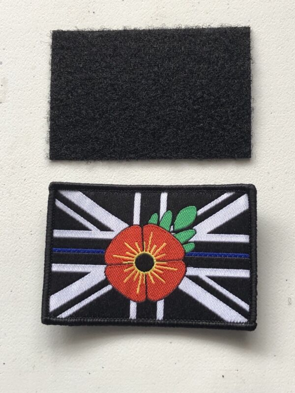 Thin Blue Line Patch-poppy Remembrance. Hook & Loop Backing