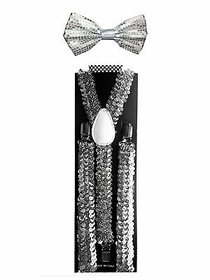 Silver Sequin Bow Tie (Silver Sequin Suspender and Bow tie Combo Unisex Adjustable)