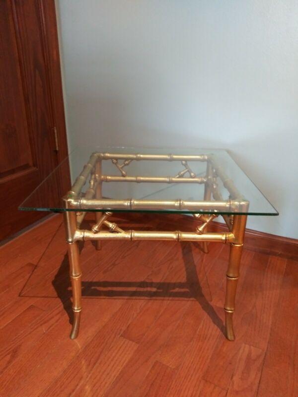 Vintage Gilt Metal Bamboo Chinoiserie End Table