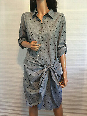$295 NWT PURE DKNY Donna Karan Cotton Gray Polka Dot Tie Dress sz L Perfect Polka Dot Dress