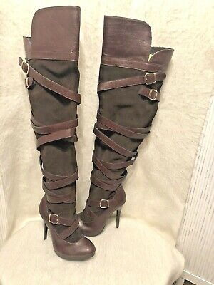 Frederick's of Hollywood Thigh High Leather/Suede Boots Size 7 Over the Knee OTK