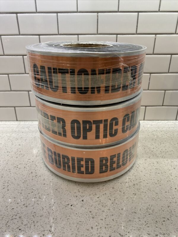 Lot Of 3 Detectable Underground Warning Tape Caution Buried Electric Line Below