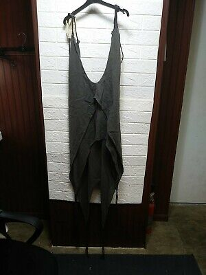 Caravana Kawsay Cotton Dress with Leather Strips Volcanic Gray. Very Short