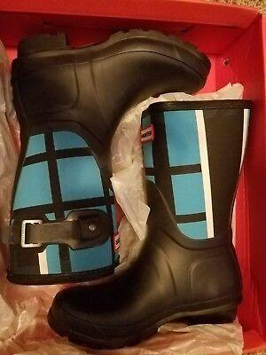 NIB WOMENS Hunter Original Short Tartan Boots sz 5 midnight/sky blue  - Plaid Hunter Boots