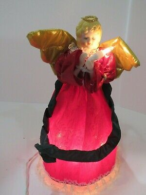 Vintage Angel Christmas Tree Topper Light Up Porcelain Face Burgundy Gown A4073