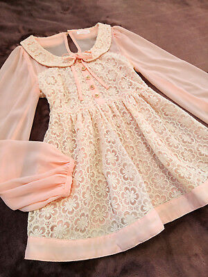LIZ LISA Mini Dress Blouse top Japan-M Salmon Pink Jacquard Hime&Lolita fashion